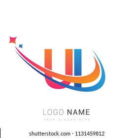 initial letter UI logotype company name colored orange, red and blue swoosh star design. vector logo for business and company identity.