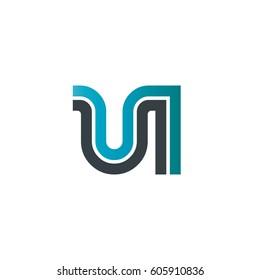 Initial Letter UI UN Linked Design Logo