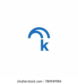 Initial Letter with Umbrella Icon Logo Vector
