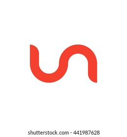 initial letter un linked round lowercase logo red