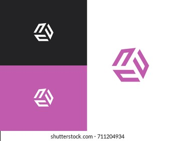 Initial letter un, uuu, nnn. Vector letter N logo. The cube with the letter U brand logo.