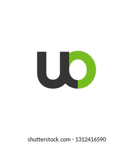 Initial Letter UO Linked Circle Lowercase Logo Black Green Icon Design Template Element - Vector