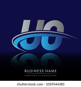 initial letter UO logotype company name colored blue and grey swoosh design. vector logo for business and company identity.