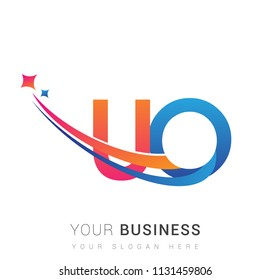 initial letter UO logotype company name colored orange, red and blue swoosh star design. vector logo for business and company identity.