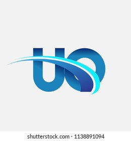 initial letter UO logotype company name colored blue and swoosh design. vector logo for business and company identity.
