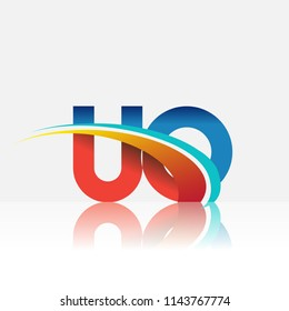 initial letter UO logotype company name colored red and blue and swoosh design. vector logo for business and company identity.