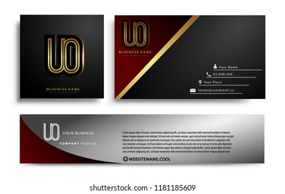 initial letter UO logotype company name colored gold elegant design. Vector sets for business identity on black background.