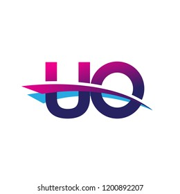 initial letter UO logotype company name colored blue and magenta swoosh design. vector logo for business and company