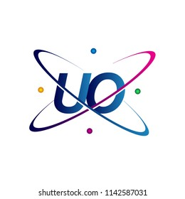 initial letter UO logotype science icon colored blue, red, green and yellow swoosh design. vector logo for business and company identity.