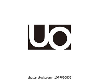 Initial letter uo lowercase logo black and white