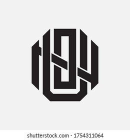 Initial letter UON, UNO, OUN, ONU, NUO  or NOU overlapping, interlock, monogram logo, black color on white background