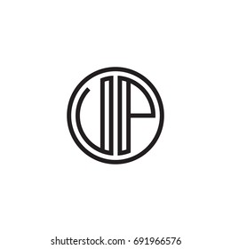 Initial letter UP, VP, minimalist line art monogram circle logo, black color