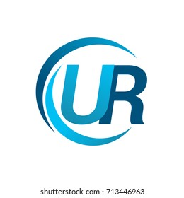 initial letter UR logotype company name blue circle and swoosh design. vector logo for business and company identity.