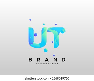 Initial letter UT logo with colorful background, letter combination logo design for creative industry, web, business and company. - Vector