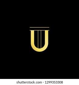 Initial letter UT TU minimal monogram art logo, gold color on black background.