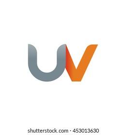 initial letter uv modern linked circle round lowercase logo orange gray