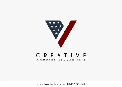 Initial Letter V with american flag logo design vector illustration. Letter V icon design. Suitable for Veterans day and military logos,isolated on white background