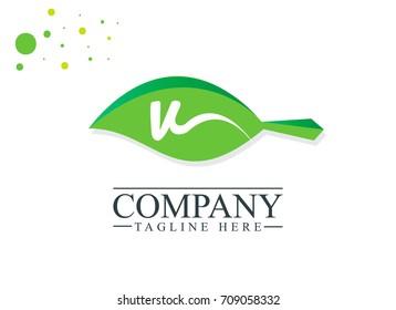 Initial Letter V Leaf Design Logo