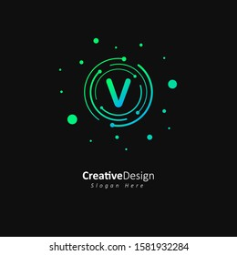 Initial letter v logo with gradation green and blue color, Technology and digital abstract dot connection