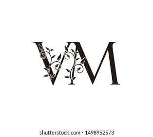 Initial letter V and M, VM, vintage Logo Icon, classy black letter monogram logo icon suitable for boutique,restaurant, wedding service, hotel or business identity.
