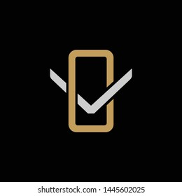 Initial letter V and O, VO, OV, overlapping interlock logo, monogram line art style, silver gold on black background