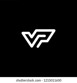 Initial letter V P PV VP minimalist art logo, white color on black background.
