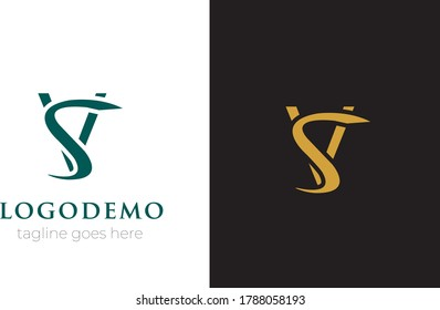 Initial letter V & S logo template vector.Modern abstract V & S Logo design with Colorful shape .monogram and elegant logo design, Professional Letters Vector Icon Word mark minimal logotype Design 5