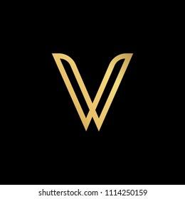 Initial letter V VV minimalist art logo, gold color on black background