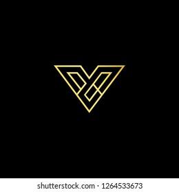 Initial letter V VV minimalist art logo, gold color on black background.