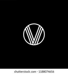 Initial letter V VV VVV VO OV minimalist art monogram shape logo, white color on black background.