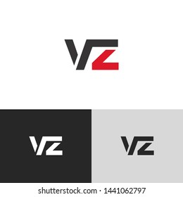 Initial Letter v z linked lowercase logo design template elements. Red letter Isolated on black white grey background. Suitable for business, consulting group company.