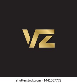 Initial letter v z linked lowercase logo design template elements. Gold letter Isolated on black  background. Suitable for business, consulting group company.