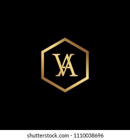 Initial letter VA AV minimalist art hexagon shape logo, gold color on black background