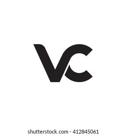 initial letter vc linked round lowercase monogram logo black