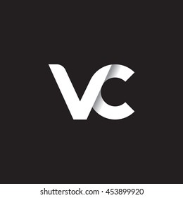 initial letter vc modern linked circle round lowercase logo white black