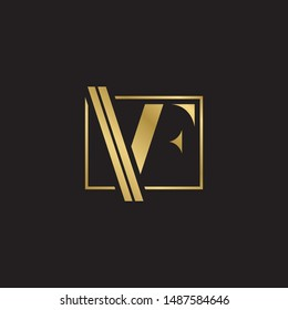 Initial letter vf inside square linked uppercase modern logo design template elements. Gold letter Isolated on black  background. Suitable for business, consulting group company.