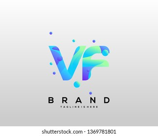 Initial letter VF logo with colorful background, letter combination logo design for creative industry, web, business and company. - Vector
