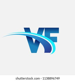 initial letter VF logotype company name colored blue and swoosh design. vector logo for business and company identity.