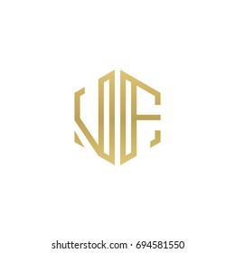 Initial letter VF, minimalist line art hexagon shape logo, gold color