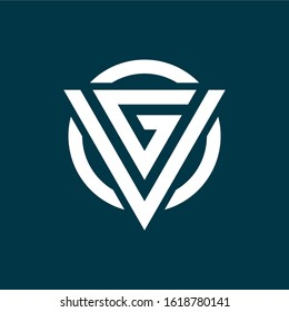 initial letter vg or gv triangle logo template