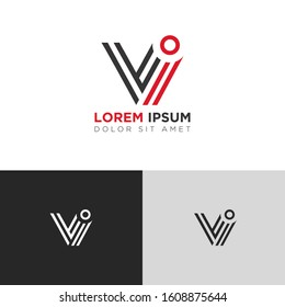 Initial Letter VI linked uppercase overlap modern logo design template. Suitable for business, consulting group company