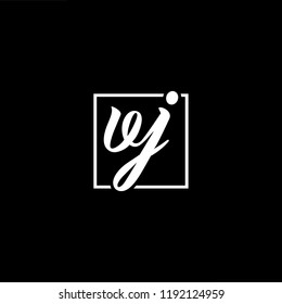 Initial letter VJ JV minimalist art monogram shape logo, white color on black background