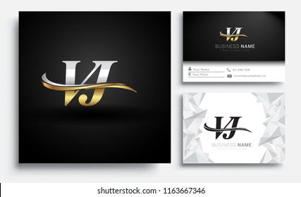 initial letter VJ logotype company name colored gold and silver swoosh design. Vector sets for business identity on white background.