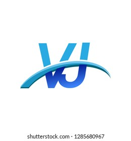 initial letter VJ logotype company name colored blue and swoosh design. vector logo for business and company identity.