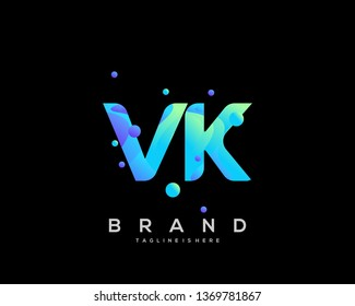 Initial letter VK logo with colorful background, letter combination logo design for creative industry, web, business and company. - Vector