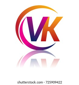 Initial Letter VK Logotype Company Name Orange And Magenta Color On Circle Swoosh Design
