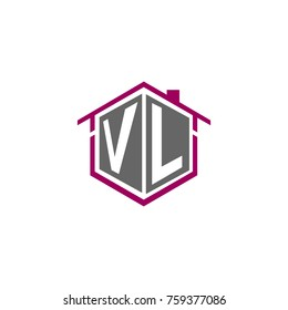 initial letter VL with house roof logo design