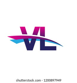 initial letter VL logotype company name colored blue and magenta swoosh design. vector logo for business and company