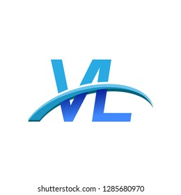 initial letter VL logotype company name colored blue and swoosh design. vector logo for business and company identity.