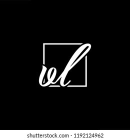 Initial letter VL LV minimalist art monogram shape logo, white color on black background